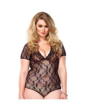 Leg Avenue Floral Lace Backless DeepV Teddy Black Plus Size