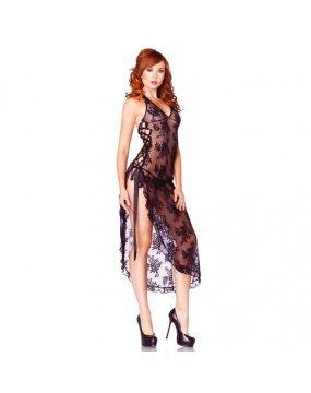 Leg Avenue 2 Piece Rose Lace Long Dress With Lace Side Black