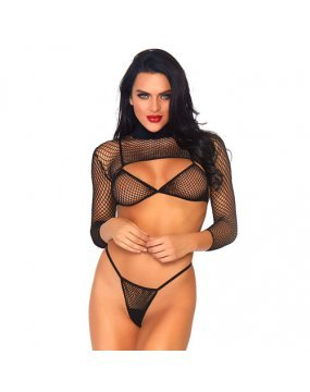 Leg Avenue Net Top, Thong And Bra UK 8 to 14