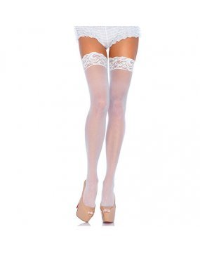 Leg Avenue Sheer Thigh Highs With Lace Tops White UK 8 to 14