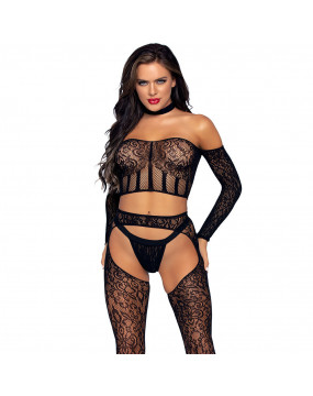 Leg Avenue Top and Suspender Set UK 8 to 14