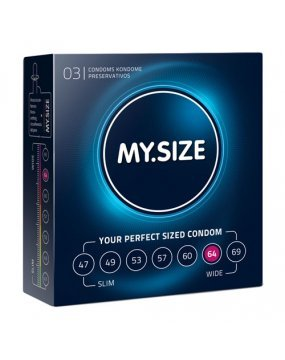 My.Size Natural Latex Condom 64 Width 3 PCS