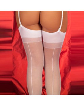White Sheer Sockings With Back Seams