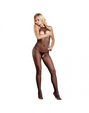 Leg Avenue Open Crotch And Bust Fishnet Bodystocking UK 8 to 14