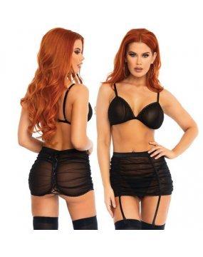Leg Avenue Mesh Bra Top and Garter Skirt