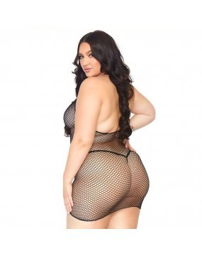 Leg Avenue Fishnet Zip Up Dress Plus Size UK 18 to 22