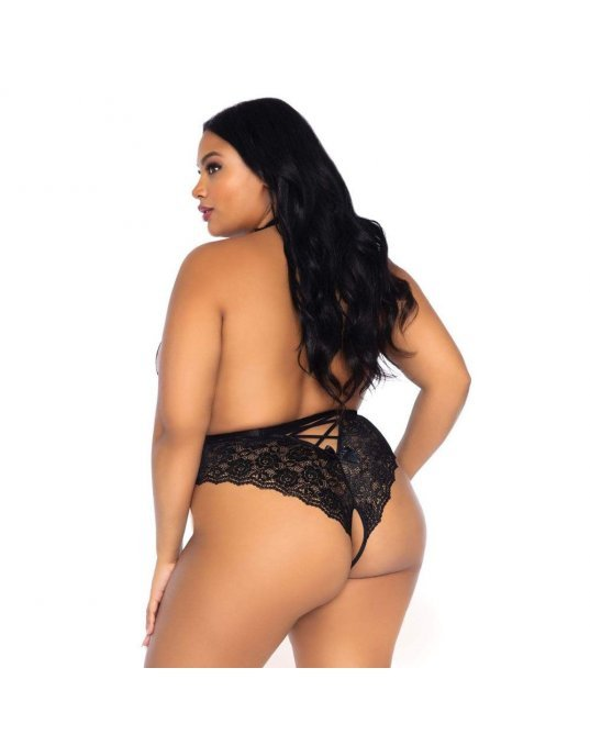 Leg Avenue Floral Lace Crotchless Teddy Black UK 18 to 22