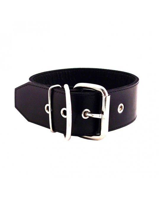 Rouge Garments 50mm Plain Black Leather Collar