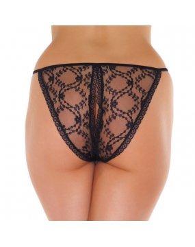 Lace Black Crotchless Tanga